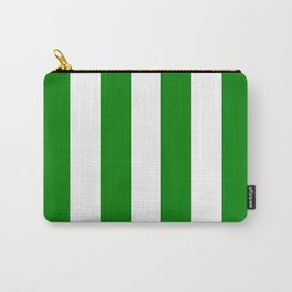 Vertical Stripes - White and Green Carry-All Pouch