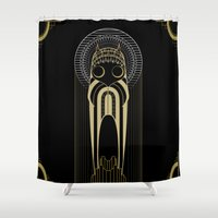 art deco Shower Curtains featuring Art Deco by Mrs.Kirki