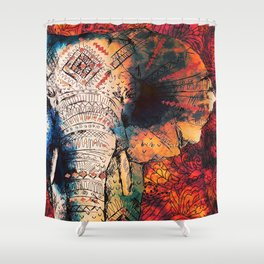 Indian Sketched Elephant Red Orange Asian Bohemian Hippie Elephants Art Shower Curtain