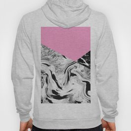 Pink Black and White Marble Colour Blocking Hoody