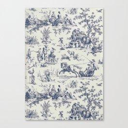 Blue Toile de Jouy Canvas Print