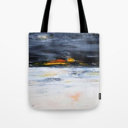 black, orange, white abstract, flipped Tote Bag