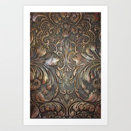 Golden Brown Carved Tooled Leather Art Print