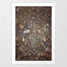 Golden Brown Carved Tooled Leather Kunstdrucke