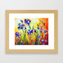 Alpha and Omega Impressionist Blue Irises Framed Art Print