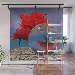 poppy and crystal ball - refraction of light Wall Mural