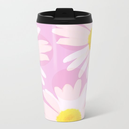 Flowers and dots on a pink background - lovely summery - #daisy #society6 #buyart Metal Travel Mug