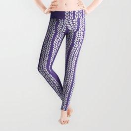 Cable Stripe Violet Leggings