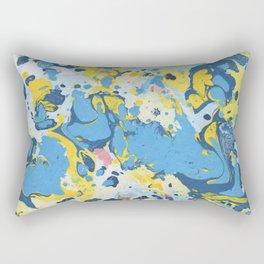 Abstract Blue & Yellow Paint Rectangular Pillow