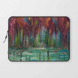Red Trees Thick Impasto Abstract  Painting Laptop Sleeve