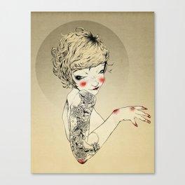 Golden tattooed girl Canvas Print