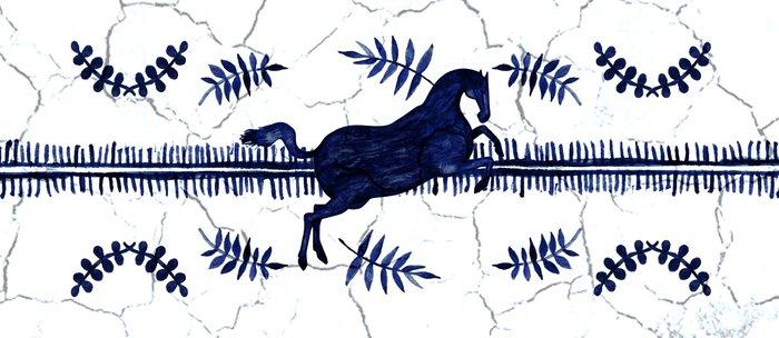 Ancient Greek Fresco - Navy Coffee Mug
