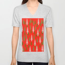 Christmas Trees White Green Red Background  Unisex V-Neck