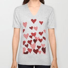 Valentine's Day Watercolor Hearts - red Unisex V-Neck