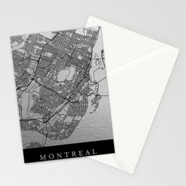 Black and white Montreal map Stationery Cards