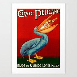 Vintage 1920 Cognac Pelicano Hijos de Quirico Lopez Malaga Advertising Poster Art Print