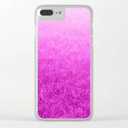 Light-to-Dark Pink Ombre Gradient Grass Clear iPhone Case