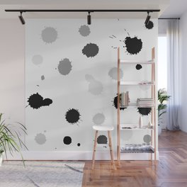 Black and gray blots on white background Wall Mural