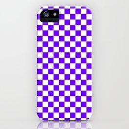 White and Indigo Violet Checkerboard iPhone Case