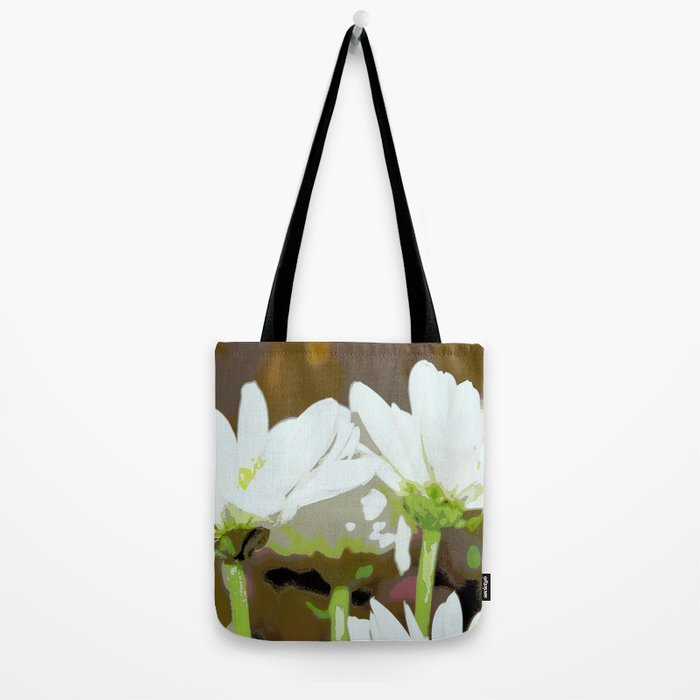 Flower | Flowers | White Summer Daisies | Floral Hippie Art | Tote Bag