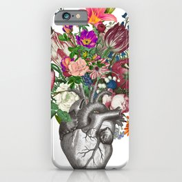 Anatomical heart and flowers iPhone Case