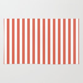 Pantone Living Coral Stripes Thick Vertical Lines Rug