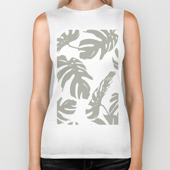 Simply Retro Gray Palm Leaves on White Biker Tank