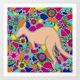 Mosaic Kangaroo Art Print