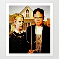 dwight Art Prints featuring Dwight Schrute & Angela Martin (The Office: American Gothic) by Silvio Ledbetter