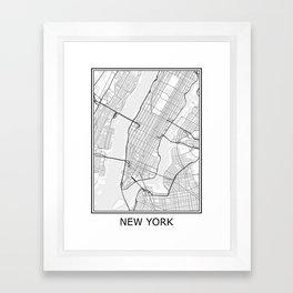 New York City Map Black and White Framed Art Print
