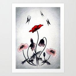 Mystery Garden: Red poppy in a grey mist Art Print