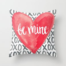 Be Mine - Watercolor love and valentine Throw Pillow