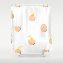 Seamless pattern with chickens in eggs Shower Curtain