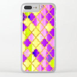 Moroccan Tile Pattern In Purple And Yellow Clear iPhone Case