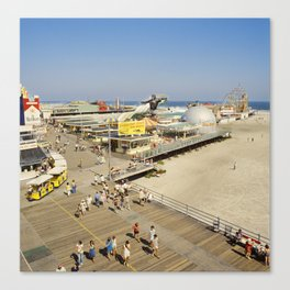 Surfside Pier with Tram Cars 1970's. Wildwood NJ Boardwalk, Retro Boardwalk Canvas Print