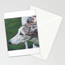 Greyhound dog art portrait from an original painting by L.A.Shepard Stationery Cards