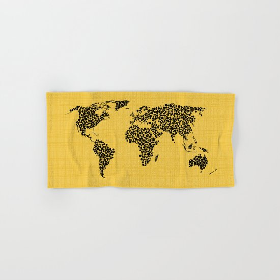 Yellow world map Hand & Bath Towel