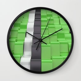 Black, white and green sine waves Wall Clock