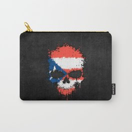 Flag of Puerto Rico on a Chaotic Splatter Skull Carry-All Pouch
