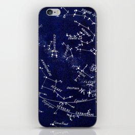 French October Star Map in Deep Navy & Black, Astronomy, Constellation, Celestial iPhone Skin