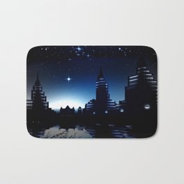 Night skyline. Bath Mat