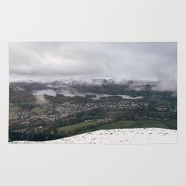 Views of Derwent Water and Keswick from Latrigg, covered in snow. Cumbria, UK. Rug