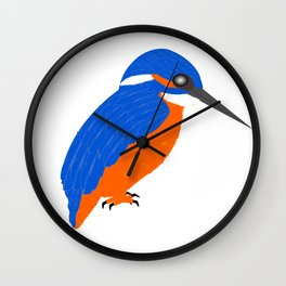 Blue And Orange Kingfisher Wall Clock
