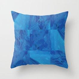 Nine Blue Squares Throw Pillow