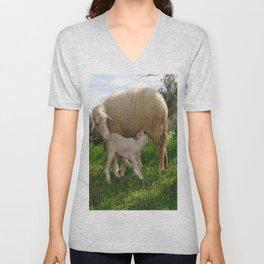 Lamb Suckling From An Ewe Unisex V-Neck
