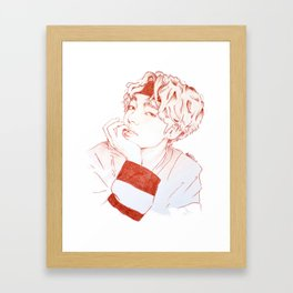 Taehyung with sanguine pencil Framed Art Print