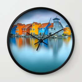 Blue Morning at Waters Edge Groningen Netherlands Europe Coastal Landscape Photograph Wall Clock