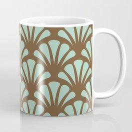 Brown and Mint Green Deco Fan Coffee Mug