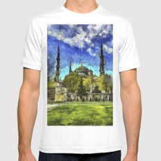 Blue Mosque Istanbul Art White Mens Fitted Tee MEDIUM
