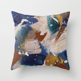 Abstract in Blue and Taupe Throw Pillow